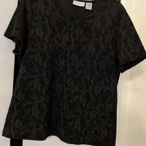 EUC black raised patterned classy shirt L